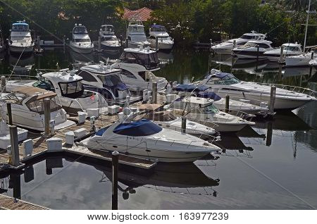 A small marina on the florida intracoastal waterway at Aventura,Florida