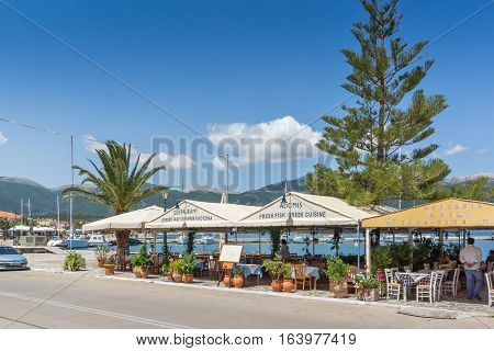 Sami, Kefalonia, Greece - May 26 2015:   Panorama of Port of town of Sami, Kefalonia, Ionian islands, Greece