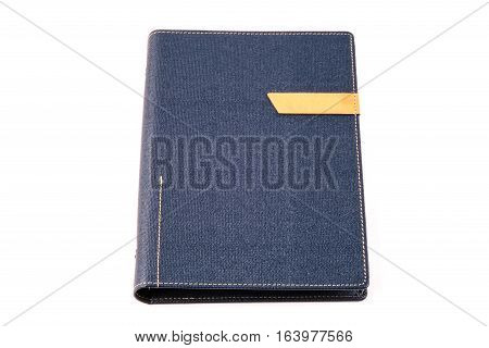 Dark blue colored organizer book isolated on white background
