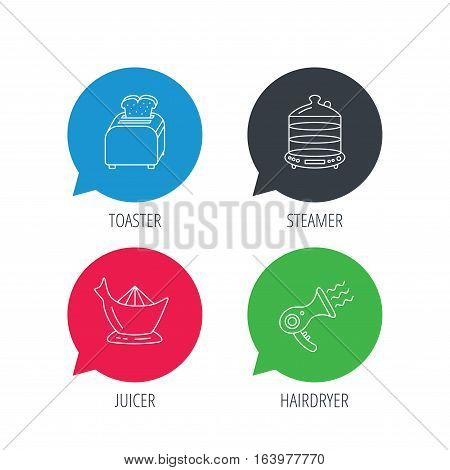 Colored speech bubbles. Steamer, hairdryer and toaster icons. Juicer linear signs. Flat web buttons with linear icons. Vector