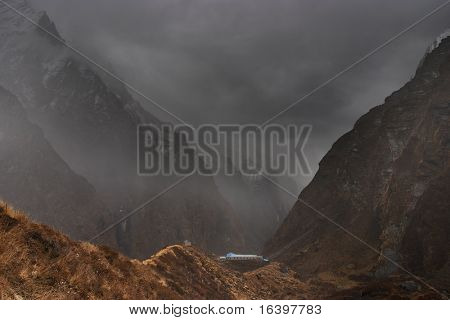 Machhapuchhre base camp in Himalaya poster