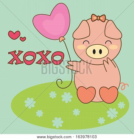 an illustration of happy pig holding heart-shaped balloon saying XOXO