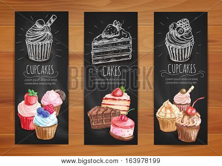 Cake and cupcake menu blackboard banners. Pastry dessert posters with chocolate cake, vanilla cream cupcake, caramel muffin and fruit dessert with fresh berries
