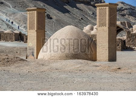 old water reservoir next to Zoroastrian Towers of Silence in Yazd city Iran