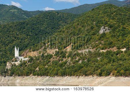 Amazing ladscape with green forest around Vacha (Antonivanovtsy) Reservoir, Rhodopes Mountain, Bulgaria