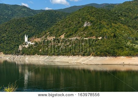 Ladscape with green forest around Vacha (Antonivanovtsy) Reservoir, Rhodopes Mountain, Bulgaria
