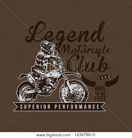 Legend Motorcycles Club Vintage Racers T-Shirt Design. Easy to manipulate, re-size or colorize.
