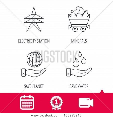 Achievement and video cam signs. Save water, planet and electricity station icons. Minerals linear sign. Calendar icon. Vector