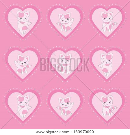 Valentine's day illustration with cute pink cats on pink love background suitable for Valentine sticker set, clip art, and cupcake topper