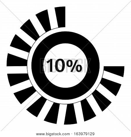 Ten percent download icon. Simple illustration of ten percent download vector icon for web