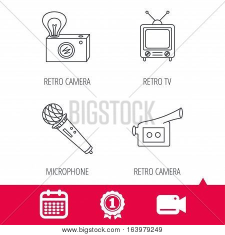 Achievement and video cam signs. Photo, video camera and microphone icons. Vintage TV linear sign. Calendar icon. Vector