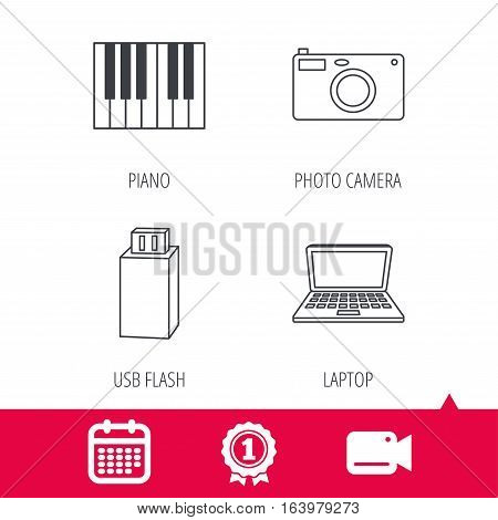 Achievement and video cam signs. Photo camera, USB flash and notebook laptop icons. Piano linear sign. Calendar icon. Vector