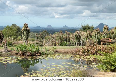 View over the Glasshouse Mountains, QLD Australia