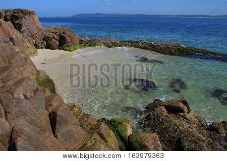 Nelson Bay rocks and ocean in NSW, Australia