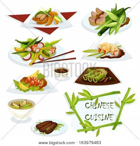 Chinese cuisine seafood snacks with shrimps icon served with soy sauce, peking duck, prawn salad, rice pork soup, chicken peach salad, cabbage rolls, sweet and sour duck salad