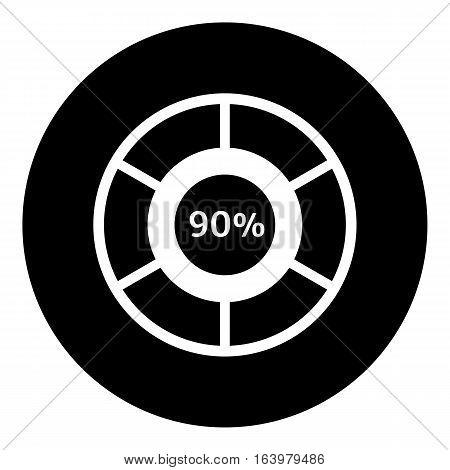 Ninety percent download icon. Simple illustration of ninety percent download vector icon for web