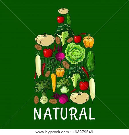 Natural healthy vegetables. Cutting board symbol with vector vegetable cabbage, onion, kohlrabi, pepper, zucchini, celery, daikon radish and carrot, beet and potato, broccoli