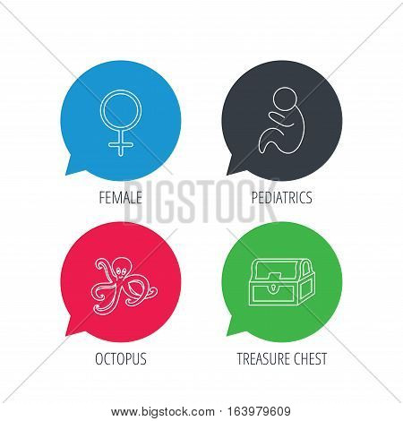 Colored speech bubbles. Female, treasure chest and pediatrics icons. Octopus linear sign. Flat web buttons with linear icons. Vector
