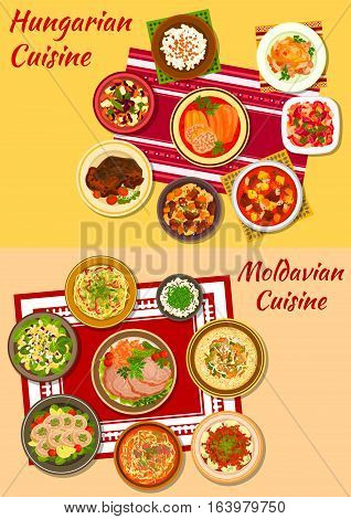 Hungarian and moldavian cuisine icon with rich meat and vegetable stews, baked pork, stuffed papper, noodles, dumpling and vegetable salads, chicken paprikash and roll, noodle and bean soups