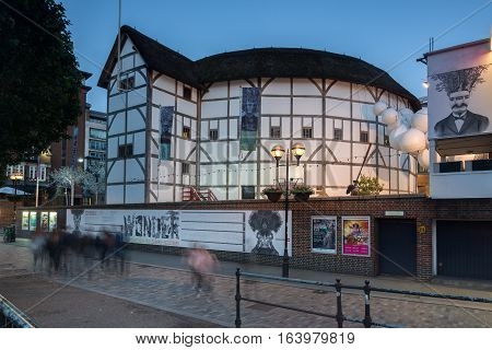 LONDON, ENGLAND - JUNE 17 2016: Night photo of Shakespeare's Globe in London, Great Britain