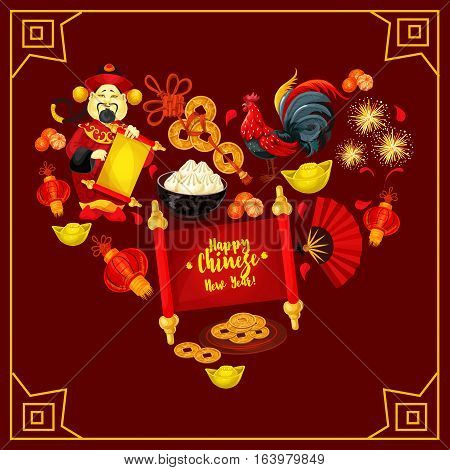 Heart with Chinese New Year traditional symbols. Rooster, red paper lantern, golden coin, god of wealth with paper scroll, mandarin orange, gold ingot, firework and dumplings for greeting card design