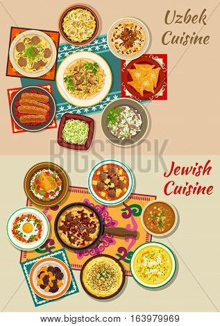 Jewish and uzbek cuisine dishes with kebab, beef and bean stew, meat pie, rice chicken with olives, meatball and fried egg, pilaf, meat and chickpea soups with noodles, radish salad, dry fruit dessert