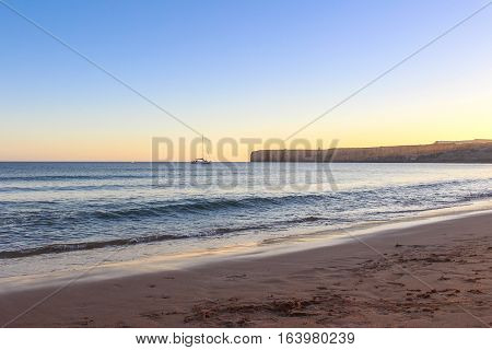 Sunset in Algarve, Portugal. Wonderful Colors of Faro