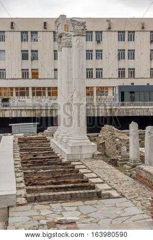 PLOVDIV, BULGARIA - DECEMBER 30 2016:  Panorama of Ruins of Roman Odeon in city of Plovdiv, Bulgaria