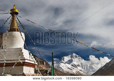 Highest monastery of the world Rongbuk monastery and Everest on background
