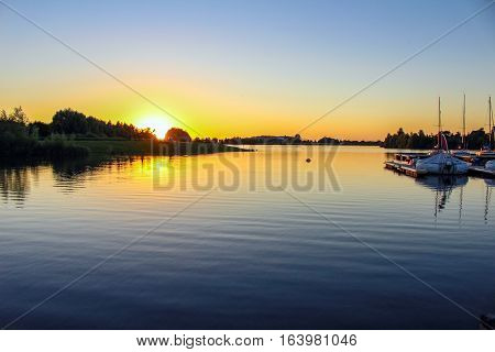 Sunset at the Lake in Xanten, Kolh, Germany