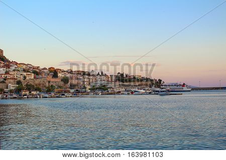 Picture of the harbor of Kavala at sunset, in Greece