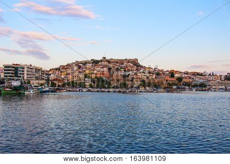 Photography at sunset in Kavala Harbor, in Greece