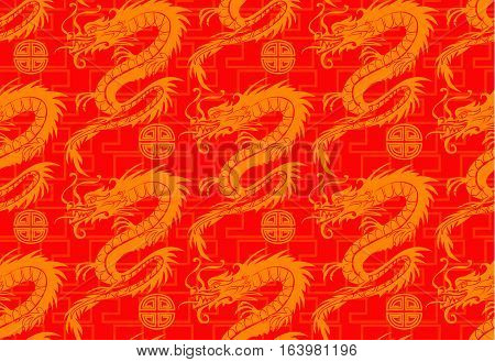 Chinese seamless dragons pattern in gold and red
