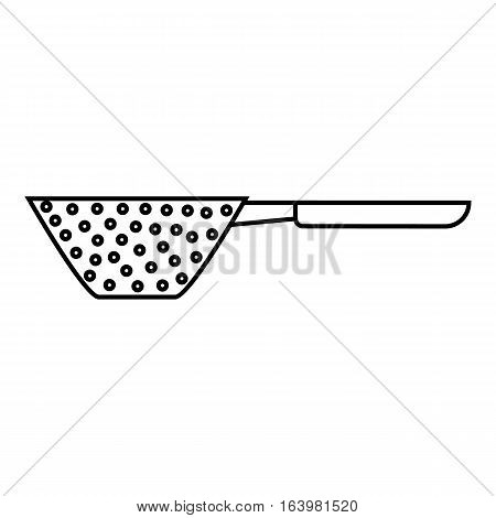 Colander with handle icon. Outline illustration of colander with handle vector icon for web