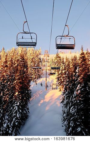 Chair lift in winter. Grouse Mountain. North Vancouver. British Columbia. Canada.