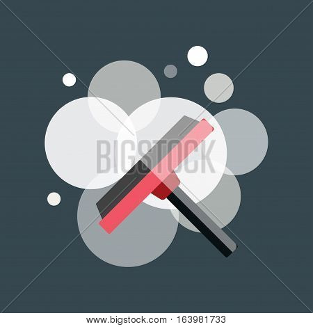 Cleaning hand brush hygiene tool and washing window house symbol. Vector modern dirty service design equipment illustration. Sponge plastic broom object.