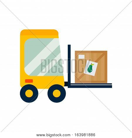 Vector forklift loader with wooden box. Cargo storage illustration equipment transportation industry. Lift transport delivery distribution warehouse shipment.