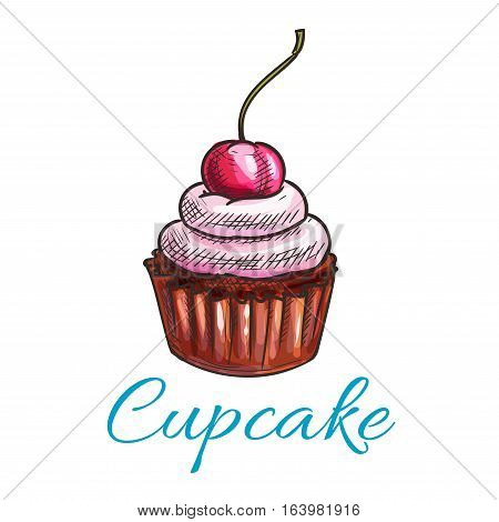 Chocolate tart cupcake icon. Vector dessert cake emblem with creamy pink topping and cherry. Color sketch label template for cafe menu card, cafeteria signboard, bakery shop