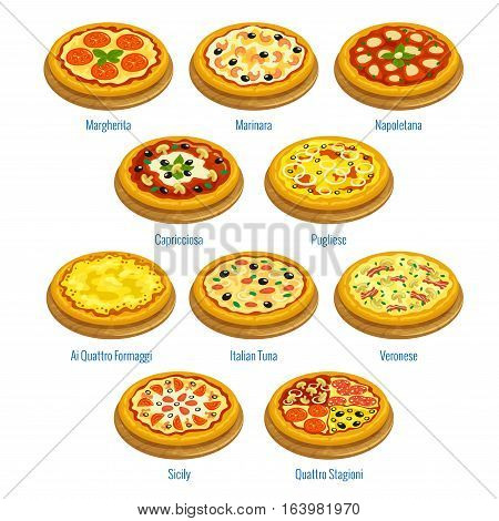 Pizza icons. Pizzeria menu elements. Vector pizza types Margherita, Marinara, Capricciosa and Napoletana, Pugliese and Italian Tuna, Veronese and Ai Quattro Formaggi, Sicily, Quattro Stagioni for italian cuisine restaurant