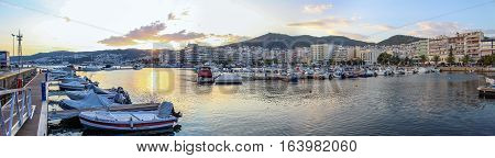 Panoramic of Kavala Port, in Greece at sunset
