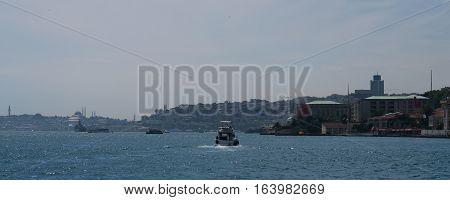Bosphorus and Istanbuls Oldtown Sultanahmet, as seen from Ortakoy, Turkey