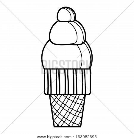 Waffle ice cream icon. Outline illustration of waffle ice cream vector icon for web