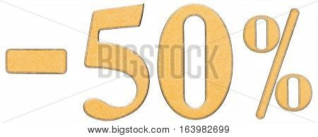 Percent Off. Discount. Minus 50 Fifty Percent, Numerals Isolated On White Background