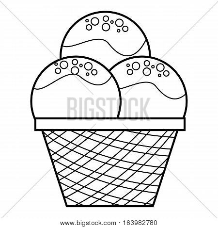 Caramel ice cream icon. Outline illustration of caramel ice cream vector icon for web