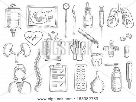 Medical icons. Vector isolated sketch line medicine items of blood counter, ultrasonography, thermometer, surgeon and dentist tools, dropper and syringe, human lungs and heart, kidney, tooth and pill, drug, nurse, spine, spray, patch