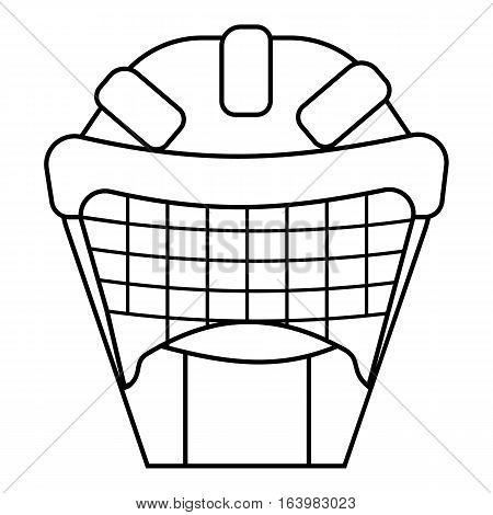 Hockey protective helmet icon. Outline illustration of hockey protective helmet vector icon for web