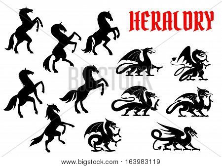 Heraldic mythical animals emblems. Vector silhouette icons of Horse Unicorn, Griffin Dragon heraldry for tattoo, shield insignia