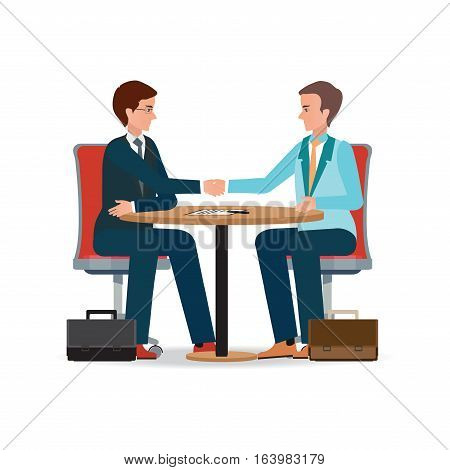 Businessman shaking hand over a round negotiations table for signed contract Business handshake conceptual isolated on white background. character flat design vector illustration.