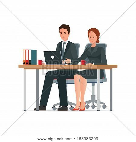 Office People work in office Business woman and man working together with laptop computer Office desk table and workplace character flat design vector illustration.