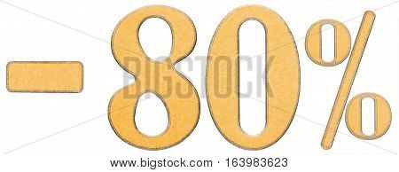 Percent Off. Discount. Minus 80 Eighty Percent, Numerals Isolated On White Background